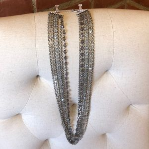 Long silver/beaded necklace